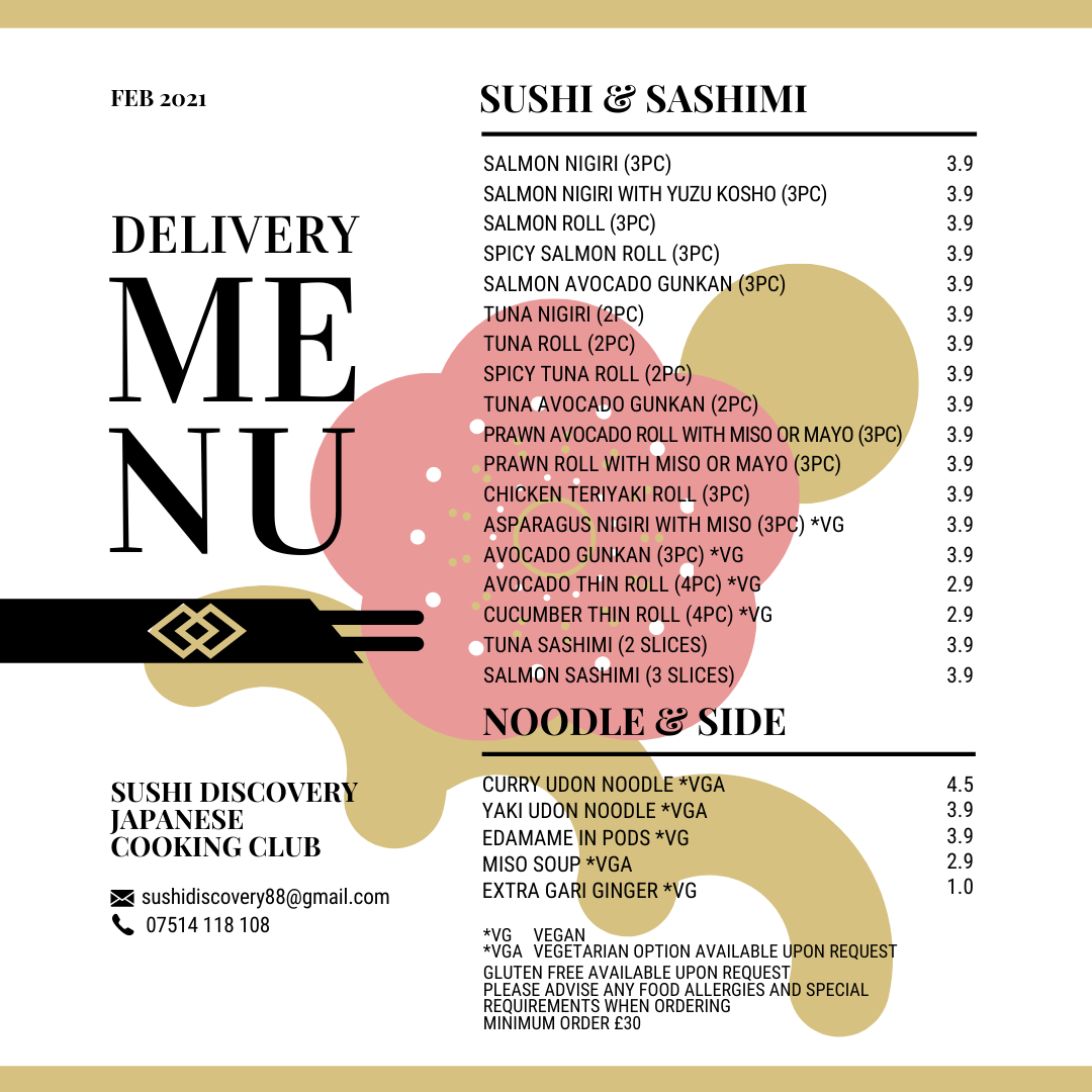 Sushi delivery menu