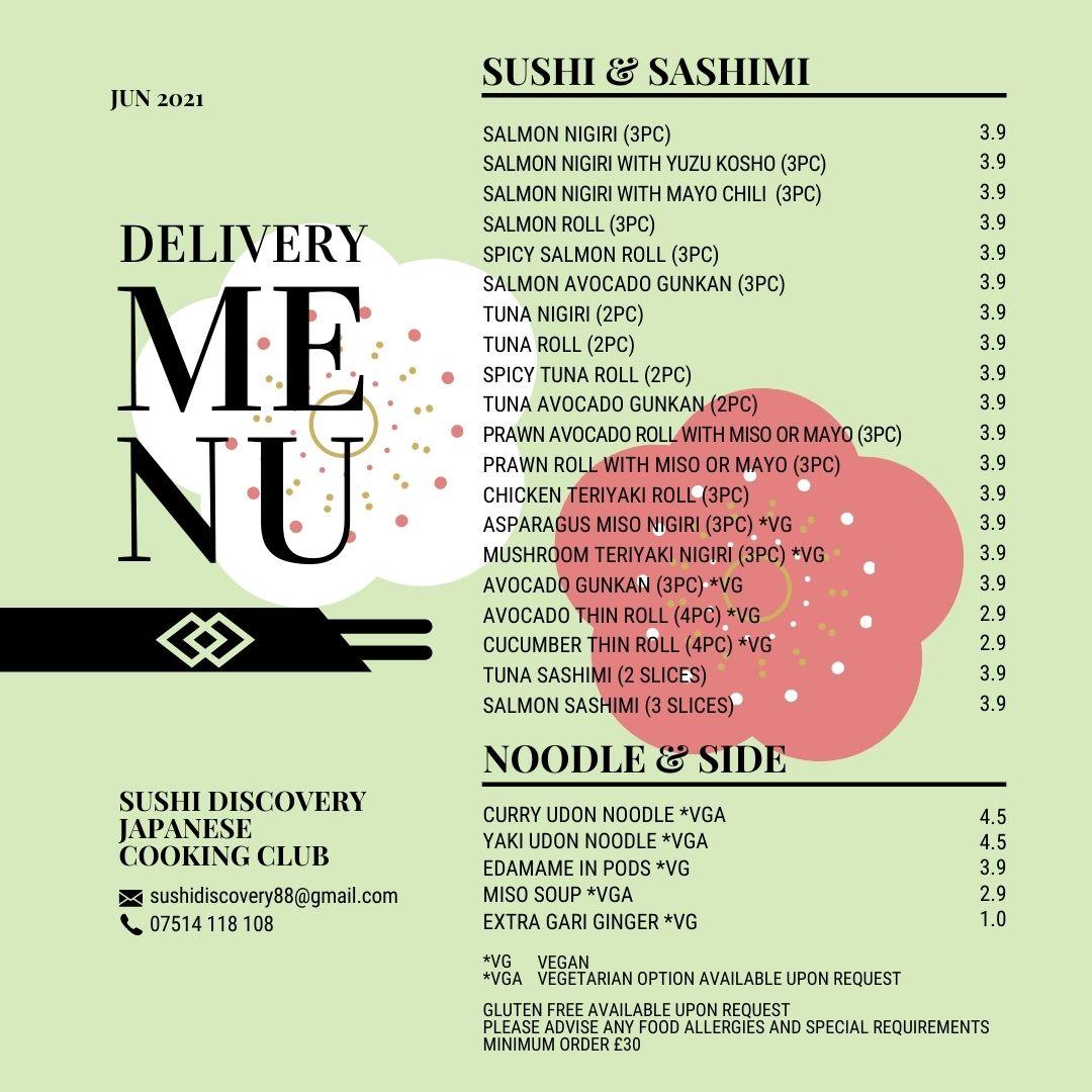 Sushi delivery menu